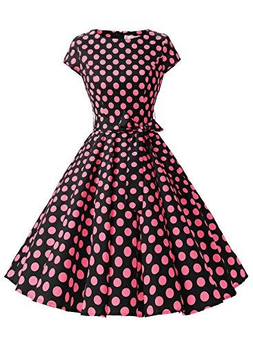 Dressystar Robe à 'Audrey Hepburn' Classique Vintage 50's 60's Style à mancheron Noir à pois fuchsia B