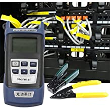 Kit de herramientas de fibra óptica FTTH con cuchilla de fibra FC-6S y medidor de potencia óptica 5 km (Color: negro y azul)