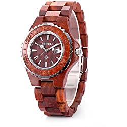 GBlife BEWELL ZS-100BL Womens Wooden Watch Analog Quartz Movement with Date Display Retro Style(Red Sandalwood)
