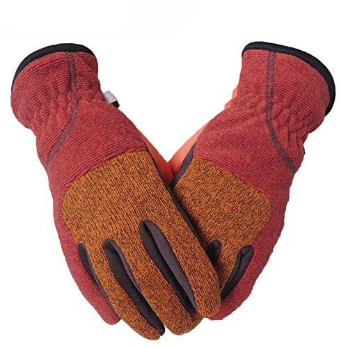 HOOCOOL Winter Handschuhe Touchscreen Kompatibel Outdoor Sport Winddicht Vollfinger Multifunktionale Handschuhe Für Männer Frauen (Orange und rot, M)