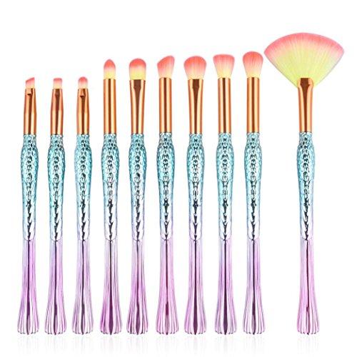 Jimma 10PC Pinceau de Maquillage,Pinceaux de beauté Set Fondation Poudre Ombre à paupières Eyeliner Lip Brush Tool