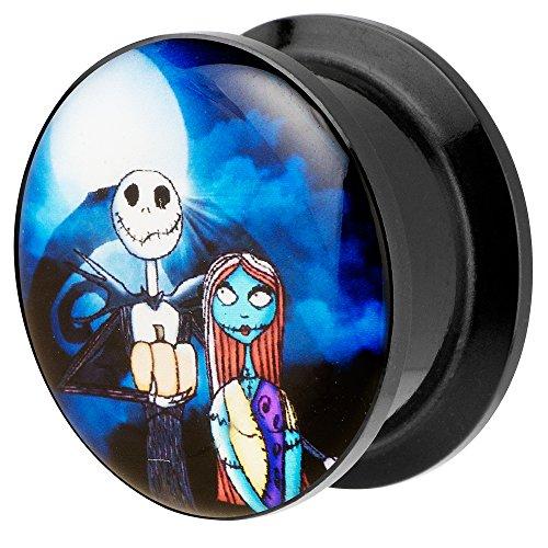 iercing Kunststoff Motiv Comic Picture Flesh Tunnel Ohrplug mit Jack & Sally Schwarz Blau 8mm ()