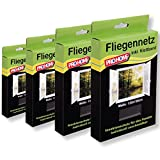 Insektenschutz Fliegengitter Pro Home 4er Pack Mückennetze 130x150 cm in schwarz, reißfest und witterungsbeständig