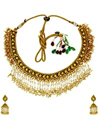 Anuradha Art Golden Colour Styled With Stone & Kundan Classy Traditional Necklace Set For Women