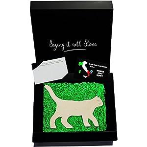 Katze aus Stein - Handgemacht in Italien - Enthält Fossile Fragmente - Geschenk Geschenkidee Geburtstag Jahrestag Hochzeitstag Hochzeit Männer, Frauen & Freundin