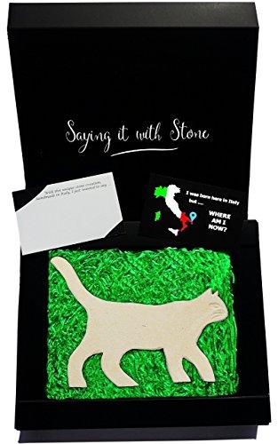 Katze in Stein - Handgemacht in Italien - Enthält Fossile Fragmente