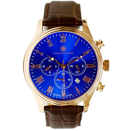 Constantin Durmont Men's Quartz Watch Ashford CD-ASHF-QZ-LT-RGRG-BL with Leather Strap