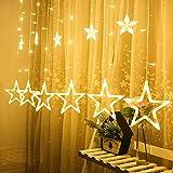 Lichterkette mit LED Kugel 12 Sterne 138 Leuchtioden Lichtervorhang Sternenvorhang 8 Modi Innen & Außenlichterkette Wasserdicht Dekoration für Weihnachten Deko Party, Warmweiß [Energieklasse A++]