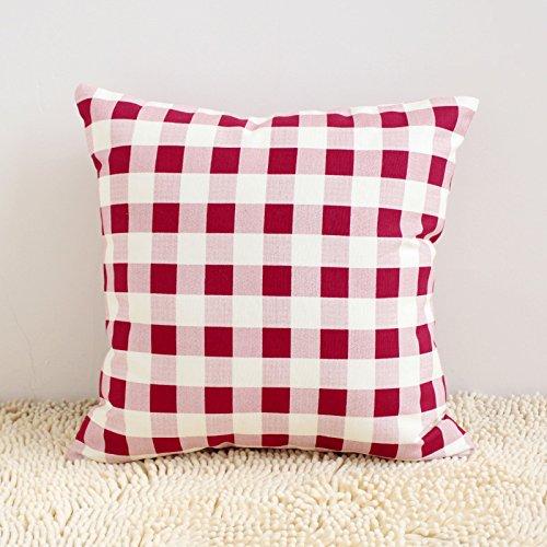 Ling@ Creative individualità buttare Federe cuscini decorativi cuscini per un confortevole divano-letto auto il vino è solido rosso griglia colore puro cotone waffle ,30x45cm, il vino rosso