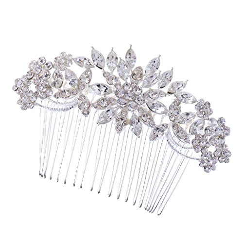 MagiDeal Vintage Kristall Blume Haarkamm Steckkamm Damen Haarschmuck Party Jubiläum Hochzeit Zubehör