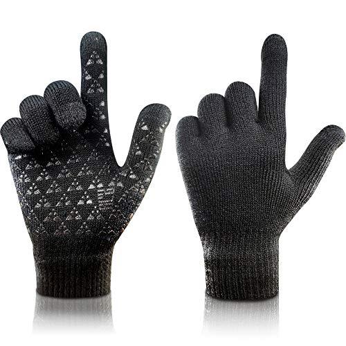 arteesol Knit Handschuhe Winter warme Handschuhe, Winddichte Anti-Rutsch-Touchscreen-Handschuhe Verd (Schwarz)