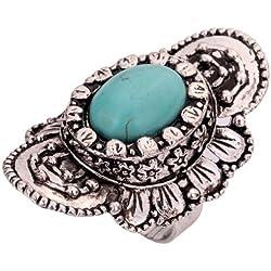 Yazilind Joyería Vintage Rimous redondo turquesa plata tibetana llamativo Flor Ajustable Anillo para las mujeres