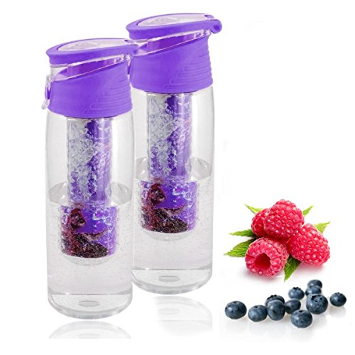 Trinkflasche mit Früchtebehälter 2er Set Sportflasche auslaufsicher Infusions Wasserflasche Fruchtschorlen 700ml Kunststoff BPA frei Getränkeflasche Wasser-Flasche Infuser (Trinkflaschen, lila)