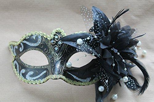 Schwarz Silber Bronze und Gold venezianische Maskerade Partei Karneval Maske auf einem Stick/Stock mit Blume