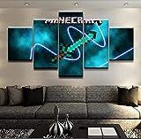 Peinture sur toile intérieure Unique Mur Cadeau Image Minecraft Peinture HD Imprimés 5 Panneaux Création Jeu Affiche Décor Moderne Accueil Wall Art Peintures Toile WWJYB0165 (Size (Inch) : Size2)