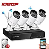 YESKAMO CCTV Camera Systems Wireless 1080P 4 Channel NVR Recorder with 2.0 Megapixel Outdoor Home Security Cameras Kits Preinstalled 2TB Hard Drive for Remote View on Smartphone App