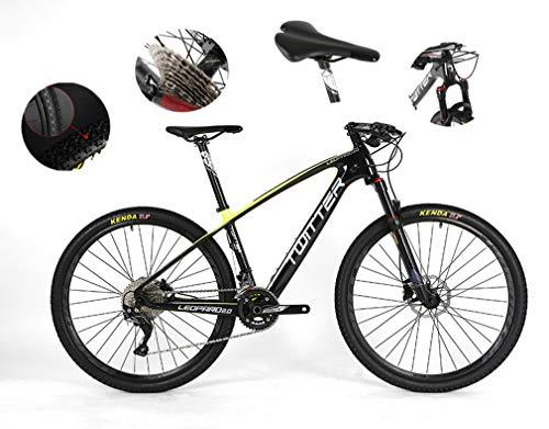 Bicicleta todoterreno para adultos, adecuada para altura de 170-185 cm, freno de disco de aceite de velocidad M6000-30, logotipo reflectante Symphony, 5 colores, material de fibra de carbono,Yellow