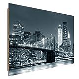 Feeby Frames, Cuadro de pared, Cuadro decorativo, Cuadro impreso, Cuadro Deco Panel, 78x118 cm, PUENTE, CIUDAD, NOCHE, NUEVA YORK, PUENTE BROOKLYN, BLANCO Y NEGRO