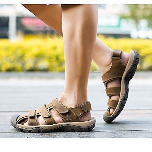 Zhuhaitf Casual Mens Soft Shoes Synthetic Leather Sandals Outdoor Closed-Toe Shoes Light Brown