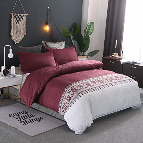 Stillshine Bettwäsche Modernes Design Rot Blau Braun Grau Lila Soft Microfaser mit Reißverschluss Bettwäscheset Ganzjahres Bettbezug Einzelgröße Doppelte King Size (Rot, 220x240cm)