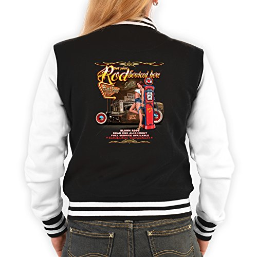 College Jacke schwarz / weiss Damen mit Rockabilly / Hot Rod Motiv : Get your Rod / Hot Rod Girl -- Collegejacke Frauen Farbe: schwarz Gr: XL (Girl Rod Hot)