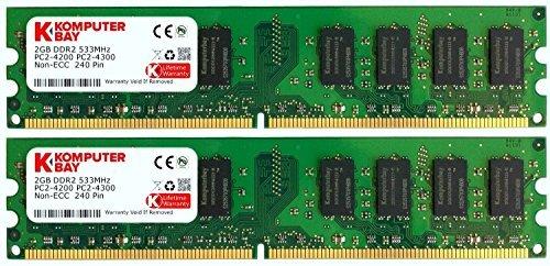 Komputerbay KB 4GB 2x 2GB DDR2_ PC242004GB DDR2533MHz PC-Speicher/RAM (4GB, DDR2, 533MHz, PC/server, 240-Pin DIMM, 2x 2GB) -