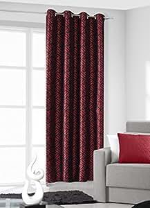 140x245 cm rot + schwarz Vorhang Vorhänge Blickdicht Fensterdekoration Gardine Ösenschal red + black 70