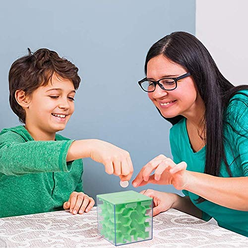 Lustige Geldgeschenke Verpackung Geburtstag, Labyrinth, Abschließbar Spardose – Perfekte 3 in 1 Geldlabyrinth für Kinder & Erwachsene (Grün) - 7