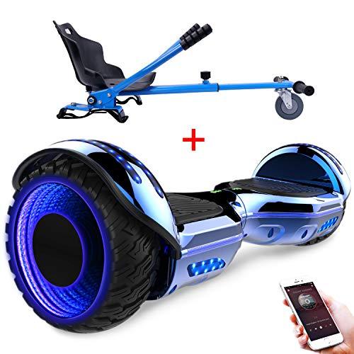 RCB Elektro Self Balance Scooter, 6,5 Zoll Hoverboard mit Hoverkart Go-Kart für Erwachsene und Kinder - UL2272 Zertifiziert mit Bluetooth Lautsprecher LED