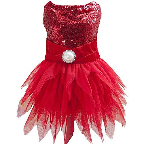 tangpanl Beam Taille Weihnachten Pet Kostüm Hund Dance Rock Satin Camp Party Kleid, M, rot