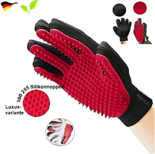 pet-ti-cute Tierhaar Handschuh USA - ORIGINAL - Hunde bürste Fingerhandschuhe Haarentferner Fell-pflegehandschuh Hund Katze Fell-Pflege Haustier Haar (Rot - 255 Silikonnoppen - Luxusvariante)