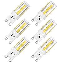 LOHAS® bombillas LED G9 de 5W, Equivalentes a Lámparas halógenas de 45W, Blanca fría 6000K, 400lm, Ángulo de Haz de 360°, AC 220-240V, No Regulable, Pack de 6