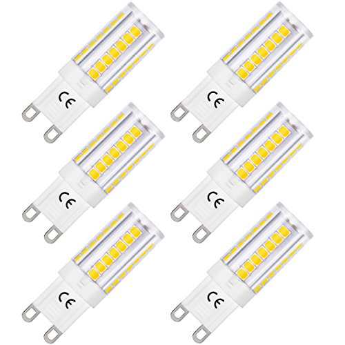 LOHAS G9 LED Lampe, 5W Ersatz für 40W Halogen Lampen, Kaltweiß, Energiesparlampe Lampe 6000K, 400LM, 360° Abstrahwinkel, LEDLampe, LED Birnen, LED Leuchtmittel, 220-240V AC, 6er Pack -