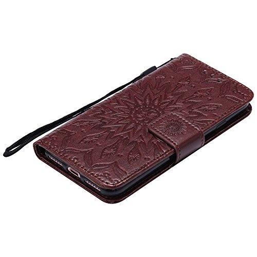 Custodia iPhone 8, cmdkd Wallet Custodia Bumper per iPhone 8. (Porpora) Marrone