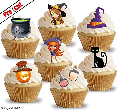 vorgeschnittenen Little Happy Halloween Hexen & Zubehör essbarem Reispapier/Waffel Papier Cupcake Kuchen Topper Halloween Geburtstag Party Dekorationen