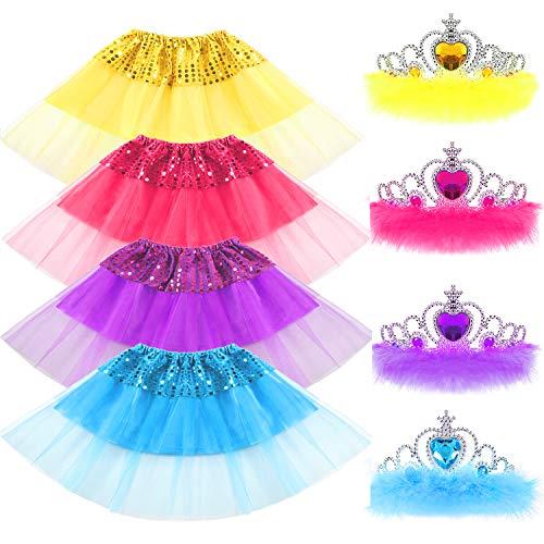 09585cbf6 VAMEI Tutu niña, 8pcs Princesa de niña de Lentejuelas Falda y Crystal Tiara  Crown Set Sparkling Kid Dress-up Faldas de Tul de Tutu Girl Outfits ...