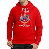 N4442H Kapuzenpullover Keep Calm and Go to Vacation (X-Large Rot Mehrfarben)
