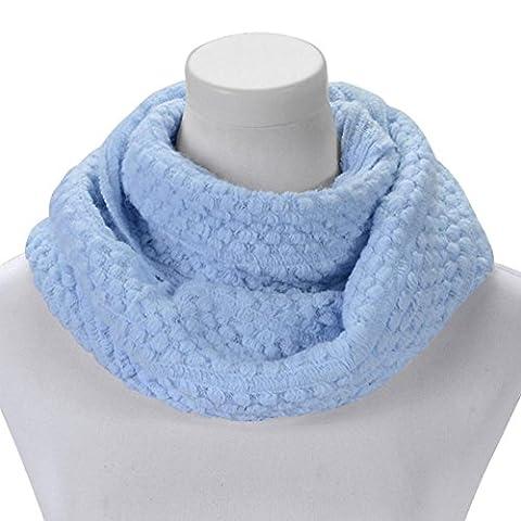 Transer ® Femelle Écharpes, Mode féminine coton d'hiver chaud mélange Infinity Cercle Double Cable Knit Cowl Long Neck Scarf Shawl (Bleu)