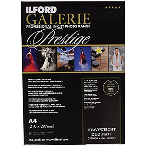 ILFORD Galerie Prestige Heavyweight Duo May - Papel fotográfico doble cara, 310 g, 50 hojas, A4
