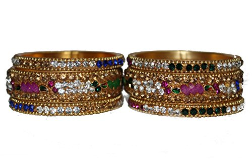 RV Designs Luxury Gold Plated Multi Color Crystal Bangles for Kids Girls (1-3 Years)