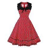 Tupfen Kleid, 1950s Vintage Ärmellos A-Line Sommer Herbst Faltenrock Damen Mädchen(4XL-Rot)
