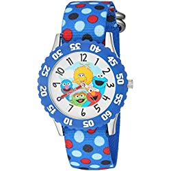eWatchFactory Boy's 'Sesame Street' Quartz Stainless Steel and Nylon Automatic Watch, Color:Blue (Model: W003179)