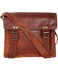 "Handcraft's ""Max"" Genuine Leather Vintage Brown Unisex Messenger Bag 9 Inch"