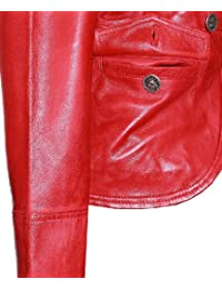 Scarlett Rojo De Mujer Corto Auténtico Lavado Cuero Piel Cordero Chaqueta Militar