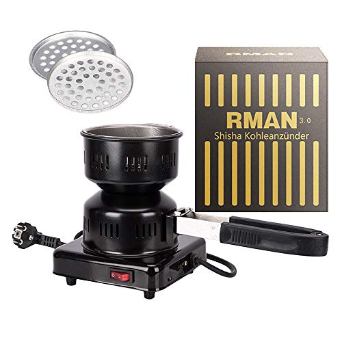 RMAN® Elektrischer Kohleanzünder Shisha Kohle Grill 600W Heizplatte Brenner E-Heater Kohlebrenner mit Abziehbarer und multifunktionaler Griff