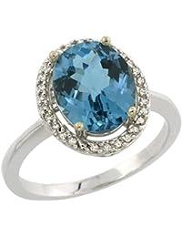 39abf21185fe Revoni - Anillo de oro blanco con topacio azul