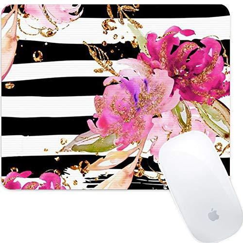 Weneth Rechteck Mauspad Cooles Gaming Mousepad rutschfest Mausunterlage Gummi Ränder Mauspad für Laptop & Reise-Rosa Blumen am Riemen
