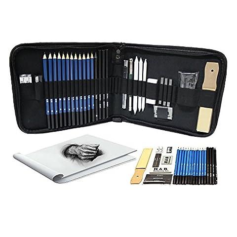 Tinpa 33 Lot de stylos Crayons de papier skizzier Esquisse et Dessin Crayon Kit Sketching Kit Graphite & Charcoal Crayons, gomme, taille-crayon, Stick, sans carnet de croquis d'art dessin Kit d'accessoires pour artistes, les débutants, les étudiants