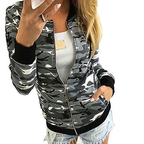 Minetom Damen Reißverschluss Camouflage Jacken Mantel Herbst Winter Straße Kurze Jacke Outwear Women Casual Jackets Grau DE (Jacken Kurz)