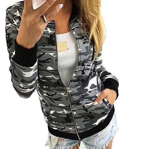 Minetom Damen Reißverschluss Camouflage Jacken Mantel Herbst Winter Straße Kurze Jacke Outwear Women Casual Jackets Grau DE 38 -